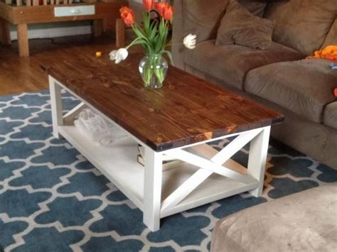 white and brown coffee table two tone coffee table farmhouse style x 2x4 industrial