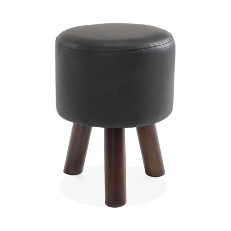 Perry Funky Tripod Low Stool Solid Wood Black Faux Leather
