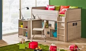 Lit Bureau Enfant : lit enfant combine bureau 90x200 gum ~ Farleysfitness.com Idées de Décoration