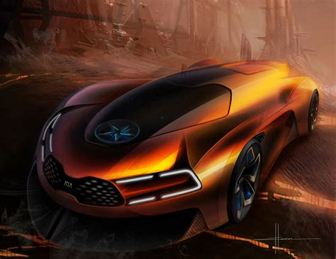 Kia Ko Steam Engine Electric Sports Fantasy Car Artwork