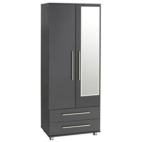 Black Wardrobe With Drawers by Ex Display Black Combination Wardrobe With Mirror 2