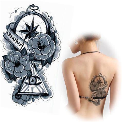 harajuku black triangleroseclockeye  tatuagem waterproof temporary tattoos sticker body
