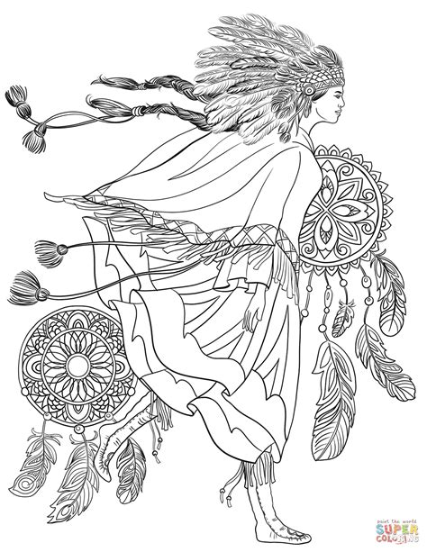 indigenous woman   traditional costume coloring page  printable coloring pages