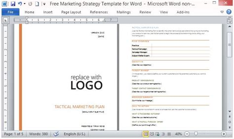 marketing plan template word free marketing strategy template for word