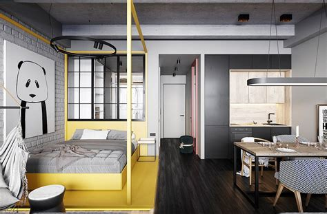Small Living Streamlined Studio Apartment by Stylish Streamlined One Room Living Micro Apartamentos
