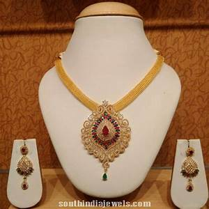 Latest Gold CZ Stone Necklace Model | Models, Necklace ...