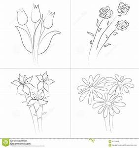 Flowers bouquets sketch stock vector. Image of lovely ...