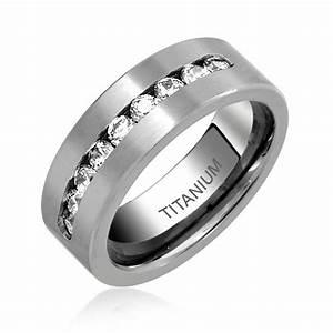 Mens Titanium Channel Set Cubic Zirconia Wedding Band Ring 8mm