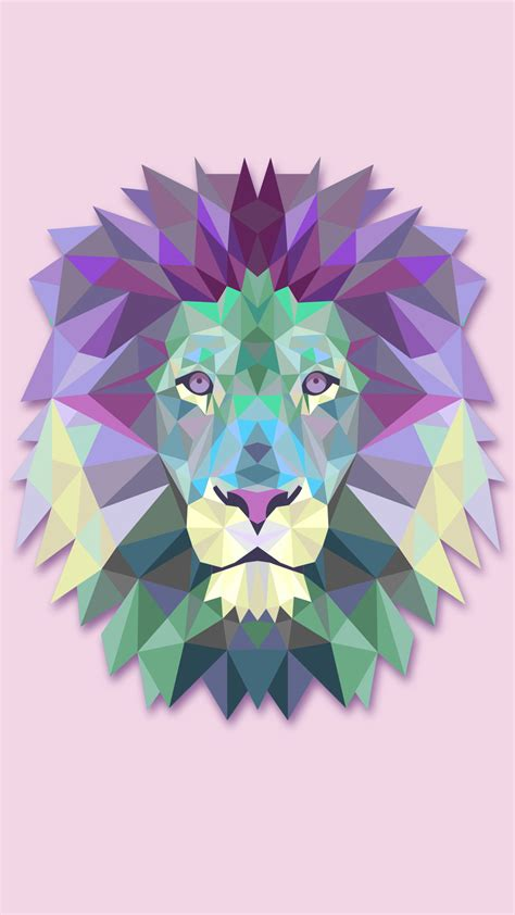Polygon Lion Hd Wallpaper For Your Mobile Phone 1136