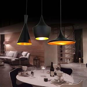 Suspension Luminaire Cuisine : lustre plafonnier 3 lampes suspensions style industriel en aluminium noir l77cm luminaire ~ Teatrodelosmanantiales.com Idées de Décoration