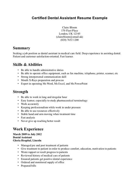 orthodontist assistant resume exles sle dental assistant resume objectives resume sles