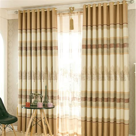 rustic tree pattern khaki polyester insulated country curtains