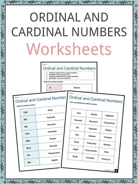 ordinal  cardinal numbers worksheets summary examples