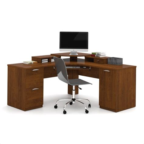 wood corner computer desk bestar elite home office corner wood tuscany brown