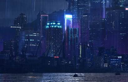 Tokyo Neon Rain Night Concept Port Building