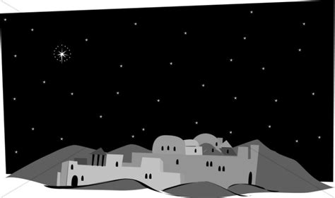 grayscale town of bethlehem nativity clipart