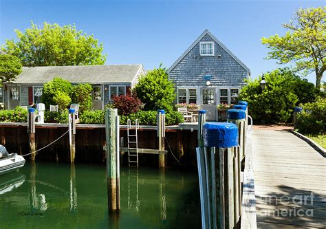 Nantucket Boat Basin T Shirts by Nantucket Boat Basin Cottages In The Photograph By