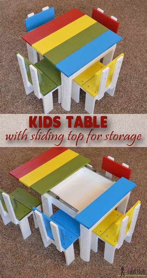 kids table  sliding top  storage  tool belt