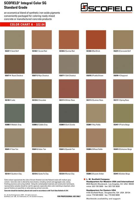 scofield color chart sted concrete decorative concrete spartan concrete