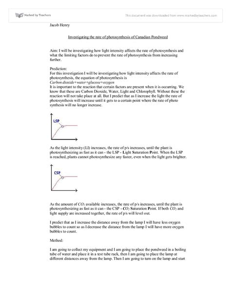 photosynthesis limiting factors worksheet images