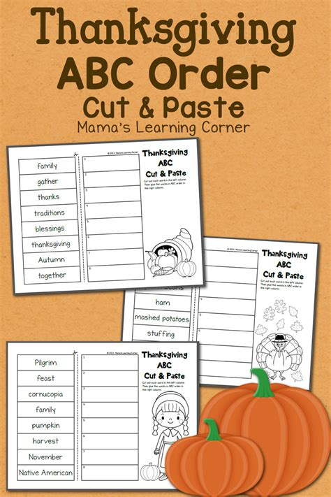 thanksgiving abc order cut and paste worksheets