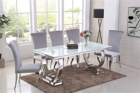 chrome  white glass dining table  grey chairs
