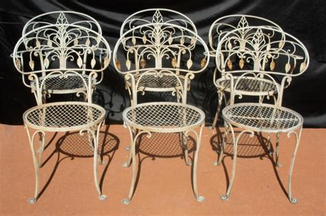 wrought iron dining chairs salterini style for sale