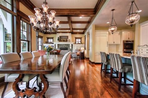 open floor plan traditional dining room  metro  modern design cabinetry