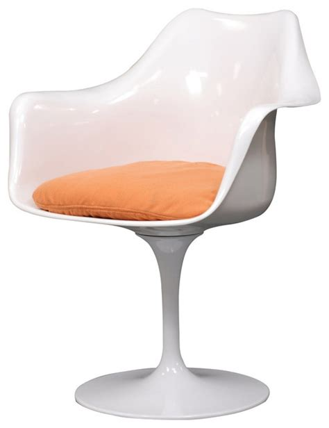 modern white plastic lounge chair with orange cushion lebus