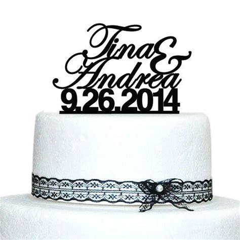 wedding cake topper with personalized wedding personalized cake topper custom name date wedding