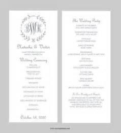 catholic wedding program templates with mass wedding program template tea length gray leaf monogram