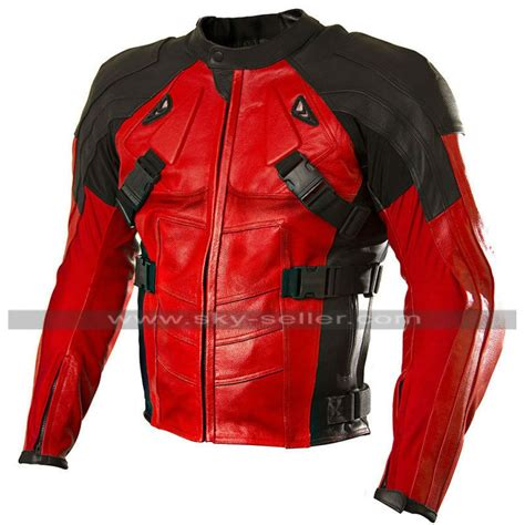 red leather motorcycle jacket deadpool red and black motorcycle leather jacket