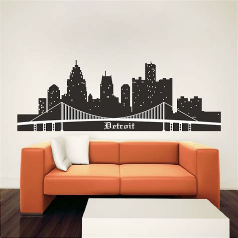 detroit skyline wall mural decal cityscape wall decal