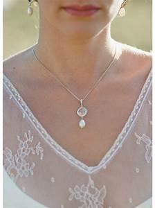 quotgarancequot collier de mariee avec pendentif serti et perle With magasin mariage avec collier perle mariage
