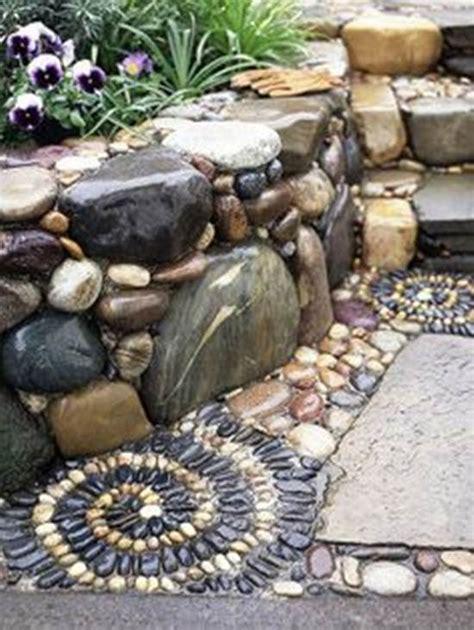 diy spiral mosaic stone garden path