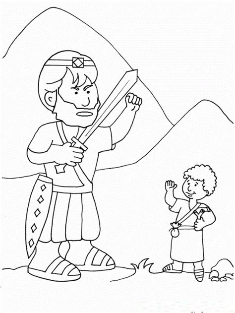 fresh coloring pages  david  goliath