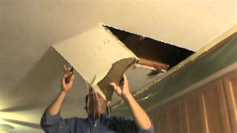 water leaking out of ceiling fan water damaged drywall repair opening ceiling youtube