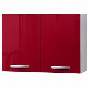 Meuble Cuisine Leroy Merlin : meuble de cuisine haut 2 portes rouge brillant h57x l80x ~ Melissatoandfro.com Idées de Décoration