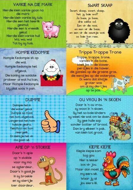 rympies kids poems afrikaans kids preschool learning