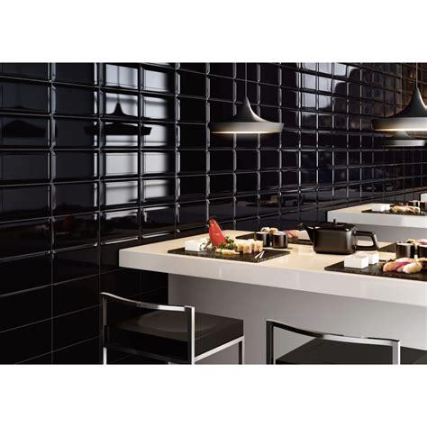 carrelage mural noir style m 233 tro salle de bain et cuisine 12 5x25 black collection pun ascot