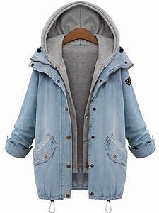 Women Plus Size Denim Drawstring Twinset Hooded Jacket ...