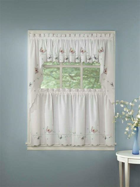 Kitchen Valance Curtains by Monarch Embroidered Butterfly White Kitchen Curtains