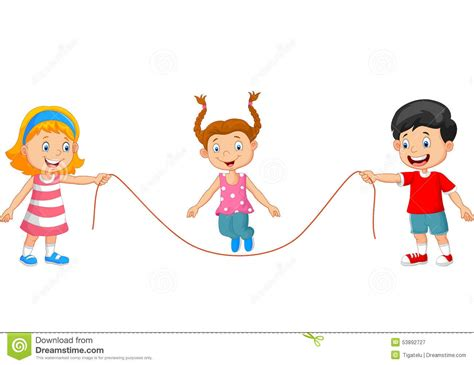 Cartoon : Cartoon Playing Jump Rope Stock Vector