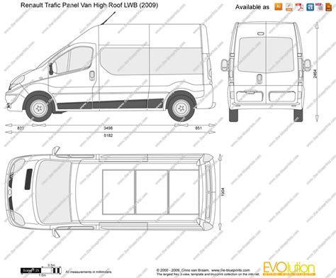 renault trafic dimensions renault trafic panel van high roof lwb vector drawing