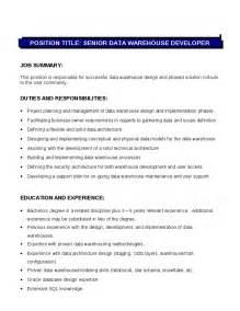 Sales Resume Template Senior Data Warehouse Developer Description Hashdoc