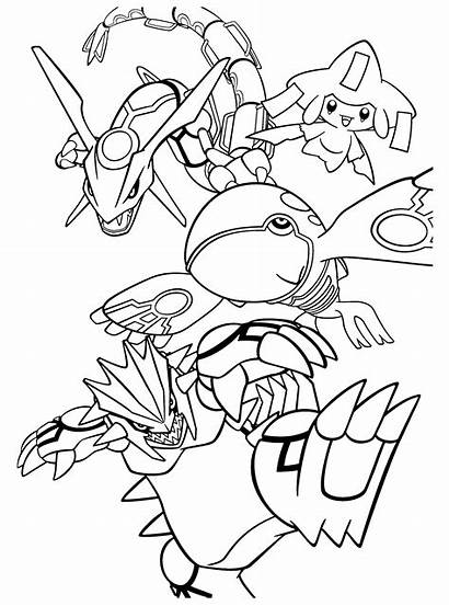 Pokemon Coloring Legendary Pages Kyogre Rayquaza Groudon