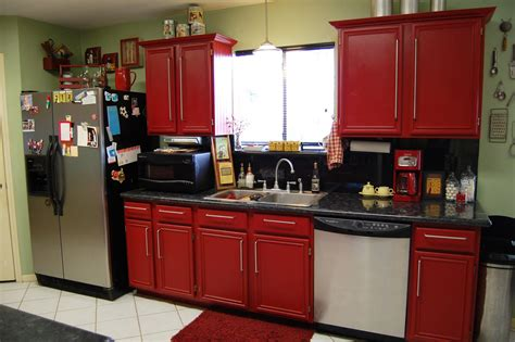 Red Kitchen Cabinets On Modern Design  Traba Homes