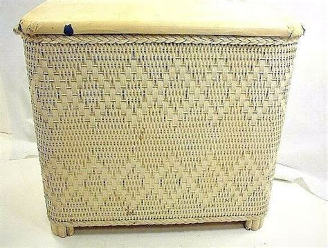 Vintage Small White Wicker Clothes Hamper Laundry Venting