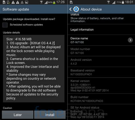 android 4 4 2 update samsung galaxy note 2 android 4 4 kitkat update rolling
