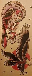 Traditional/old school tattoo, sailor jerry, parrot, eagle ...